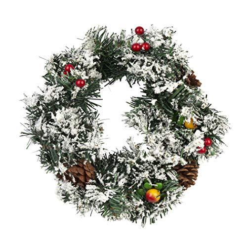 Corona di Natale, Ghirlanda Inverno Neve, 30cm| PVC Premium, Resistente e Riutilizzabile| Appendere Addobbi Decorazioni Natalizie per Porte e Finestre a Casa e in Ufficio.