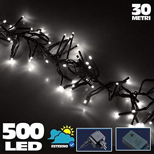 Bakaji Catena Luminosa 500 Luci LED Lucciole Bianco Freddo Controller 8 Funzioni per uso Interno ed Esterno