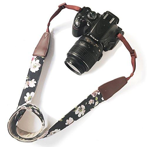 Alled Kameragurt, Kameragurt für Canon, Nikon, Sony, Lumix, Kodak, Fuji, Olympus DSLR, Universal, Vintage, weich, bequem, verstellbar, mit Schnellentriegelung, Leder Schwarz Rosa Blume