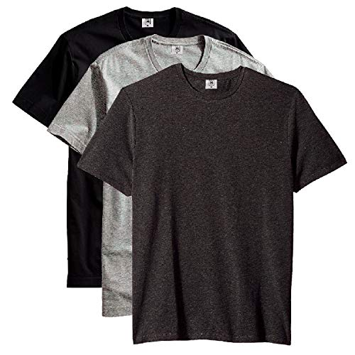 Kit com 3 Camiseta Masculina Básica Algodão Premium (Chumbo Cinza Preto, G)