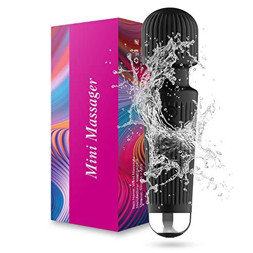 Upgraded Wand Back Massager,Waterproof Handheld Bullet 20 Vibration Modes Cordless Wand Massager for Neck Shoulder Back Body Massage,Black