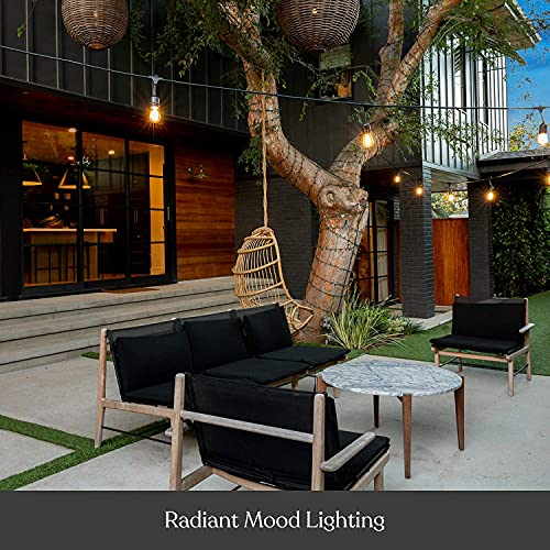 Brightech Ambience Pro - Waterproof, Solar Powered Outdoor String Lights - 48 Ft Hanging Edison Bulbs Create Bistro Ambience On Your Patio - Commercial Grade, Shatterproof - 1W LED, Warm White Light