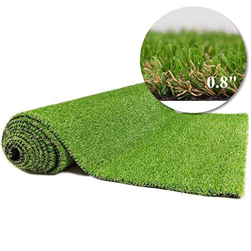 Artificial Grass Outdoor Rug 7 FT X 12 FT (84 Square FT) Synthetic Lawn Fake Grass for Patio,Balcony,Pet Mat,Indoor/Outdoor Decor 0.8inch High (7 FT X12 FT (84 Square FT))