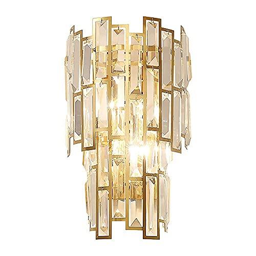 BABYCOW Glam Crystal Wall Scones Accesorio de iluminación 2 Luces Lámpara de Pared Lineal de Acero Inoxidable Luces de tocador de baño de Cristal en Niveles Sala de Estar Dormitorio Pasillo Pasillo