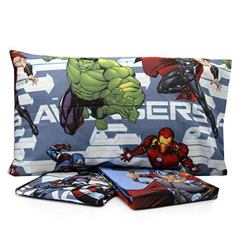 Personaggi Juego de sábanas para cama individual de una plaza y media de algodón por encima de la funda de almohada Marvel original (Singolo, Vengadores V2)