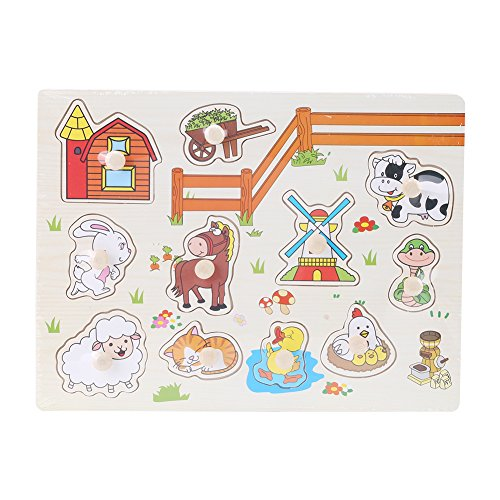 CUYT Juego Educativo de Juguete de Aprendizaje, Rompecabezas de Aprendizaje, Rompecabezas de Perilla educativos bebé para niña niño para niño(A3006(Animal))