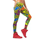 Zumba Dance Fitness Activewear Tight Wide Jacquard Shaping Waistband Booty Lifting Ankle Length Pants For Women Leggings, Precaución 0, XL para Mujer