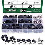 Keadic Cable Clamp 135 Pack Black Nylon R-Type Cord Fastener Clips Assortment Kit with 135 Pack Stainless Steel Screws, Great for Wire Management