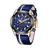 Relojes para Hombre Deportes Militar Reloj de Cuarzo Analógico Moda para Hombre Cronógrafo Impermeable Gran Esfera de Cuero Reloj Azul