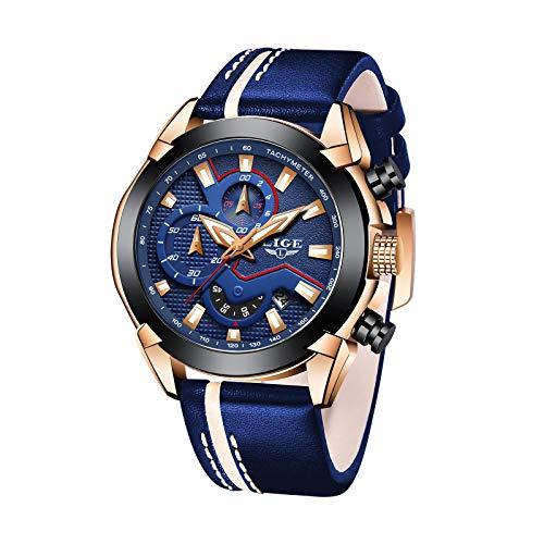 LIGE Herrenuhr Blau Mode Mesh Gürtel Edelstahl Analoguhr Wasserdicht Sport Chronograph Männer Schwarz Business Kleid Armbanduhr