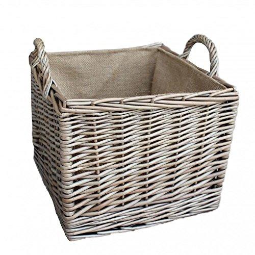 Medium Antique Wash Plein Hessische gevoerd Inloggen Basket