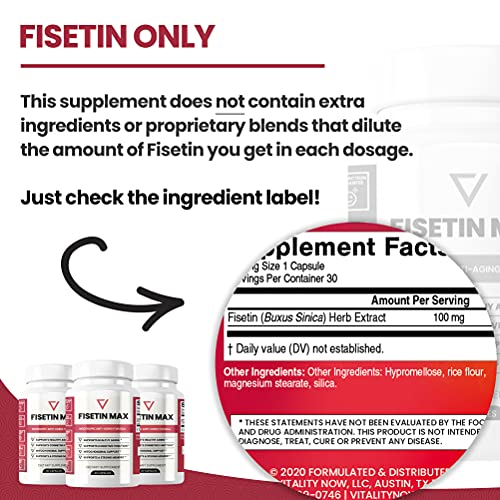 51GgnH2D5TS. SL500  - Fisetin Max | Nootropic Anti-Aging Supplement - Doctor Approved Antioxidant Support for Healthy Aging, Better Brain Health, Improved Energy Levels, and Maintaining Strong Memory* - 30-Day Supply