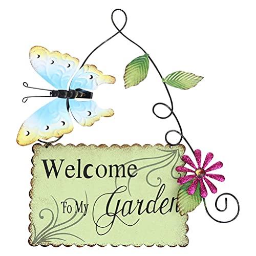 Türschild Willkommen - Schild aus Metall für Tür, Zaun - Wandbehang Ornament - Kreative Garten Dekoration