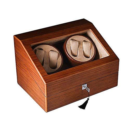 SGSG Caja enrolladora de Reloj automática, Madera de Lujo para 4 Relojes de Pulsera + 6 Estuche de Almacenamiento Motor silencioso 5 Modos de rotación