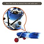 """Onefeng Sports Airless End Kayak Cart, Canoe Carrier Trolley Adjustable Kayak Trolley Suit for Extra Large 24inch Width… 18 ►【Suit for Extra Large Kayak】 Kayak cart is suitable for kayaks up to 24 inches wide.The height of kayak cart can be adjusted from 9.8"""" to 17.7"""", and each gear can be adjusted to 2"""".The width of our canoe cart can be adjusted from 20"""" to 24"""".So whatever your. So no matter what size you are, you can adjust your kayak cart. ►【Capacity】 Generous 150lb carrying capacity allows you to easily transport your kayak / canoe;solid aluminium frame,and rubber protectors on each arm to protect your canoe / kayak hull; Rubber bumpers of the foot protect the frame from wearing. ►【New Plastic Wheels】 Wheels are environment-friendly,odourless tasteless.Size:25×7cm(9.8""""×2.7"""") plastic tires with rubber sheaths.Spring button, easy assembly."""