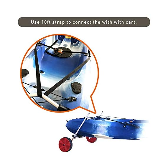 """Onefeng Sports Airless End Kayak Cart, Canoe Carrier Trolley Adjustable Kayak Trolley Suit for Extra Large 24inch Width… 9 ►【Suit for Extra Large Kayak】 Kayak cart is suitable for kayaks up to 24 inches wide.The height of kayak cart can be adjusted from 9.8"""" to 17.7"""", and each gear can be adjusted to 2"""".The width of our canoe cart can be adjusted from 20"""" to 24"""".So whatever your. So no matter what size you are, you can adjust your kayak cart. ►【Capacity】 Generous 150lb carrying capacity allows you to easily transport your kayak / canoe;solid aluminium frame,and rubber protectors on each arm to protect your canoe / kayak hull; Rubber bumpers of the foot protect the frame from wearing. ►【New Plastic Wheels】 Wheels are environment-friendly,odourless tasteless.Size:25×7cm(9.8""""×2.7"""") plastic tires with rubber sheaths.Spring button, easy assembly."""