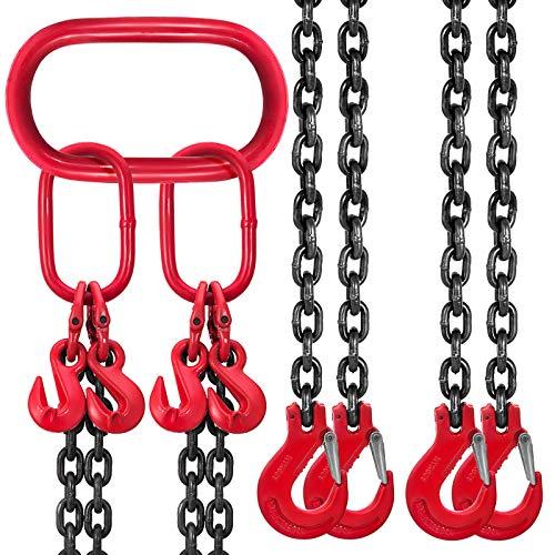 Mophorn 4 Jambes Levage Chaîne avec Crochet Chaîne pour Palan Lifting Chain de Grande Capacité(2M)