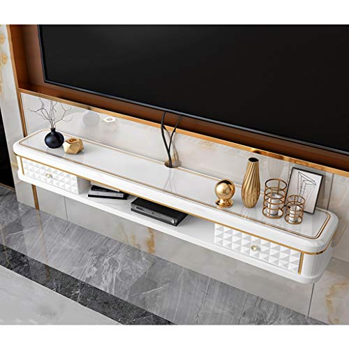 Floating TV Shelf Modern TV Stand Wall Mounted Media Console Entertainment Center Storage Shelf Media Audio/Video Console with Drawer TV Cabinet for Cable Boxes/Router/Remotes/DVD Player/Game Console