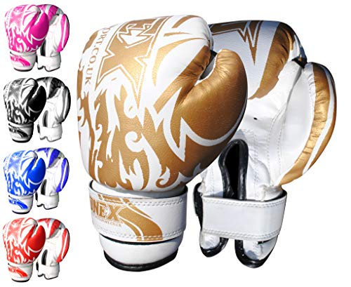 ONEX Premium Quality Boxing Gloves 6oz Boxing Gloves for Training Punching Sparring Bag Gloves Punch Bag Mitts Muay Thai Kickboxing MMA Martial Arts Workout Kids Juniors Girls and Boys (Gold)