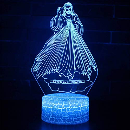 Luminaire de nuit Jésus 3D Illusion/LED, 7 décoloration, tactile/télécommande, décor de table de bureau de chambre à coucher, lumière de sculpture d'art et câble USB, cadeau