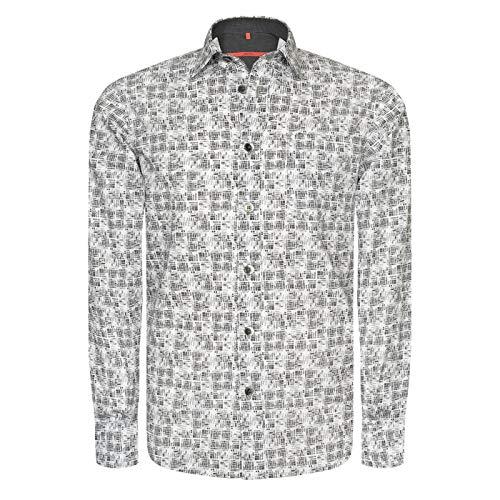 Signum Hemd - Feingezeichnetes ICON Druckhemd aus Sommerbaumwolle Herrenhemd - Black