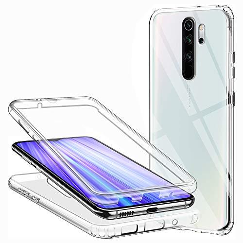 Compatible avec Coque Xiaomi Redmi Note 8 Pro, Ultra-Mince Transparent Etui 360 Tout Le Corps Degrés Protection Housse Premium Souple Silicone TPU et Plastique Dur Bumper Coque Antichoc