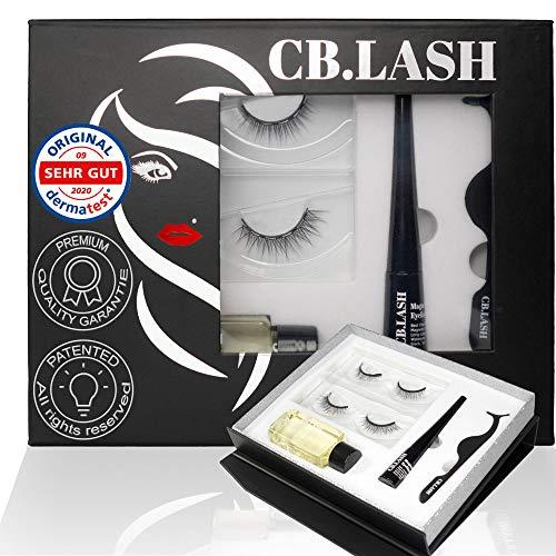 CB Lash Luxury Collection 2 Paar Premium Magnet Wimpern und wasserfester Magnet Eyeliner, inkl. Reiniger und Pinzette, natürliche Looks