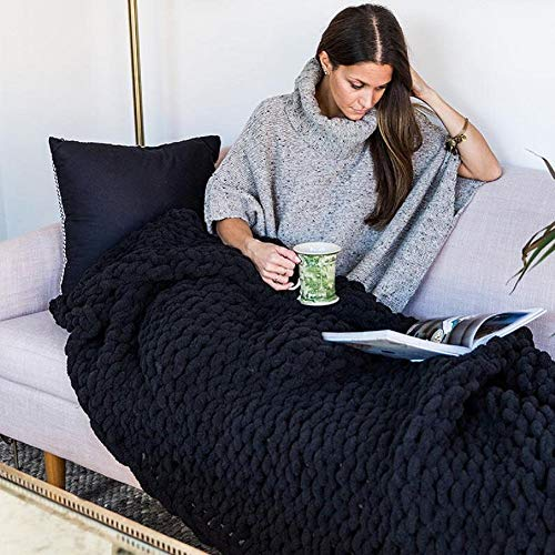 Best Price VIYEAR Knit Throw Jumbo Chenille Blanket for Cuddling up in Bed, Chunky Chenille Yarn Arm...