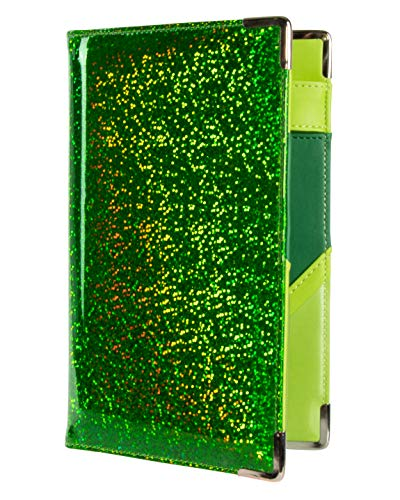 of Course Holographic Glitter Server Book for Waitress and Waiter Zipper Pocket 8x5 Organizer Wallet | 10 Money Pockets | Original 2 Tone Interior | Cute Fits Aprons (Lucky Charm)