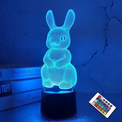 CooPark Kaninchen 3D Illusions lampe für Kinder Hase niedlich Hase Tier Baby Kinderzimmer Nachtlicht 16 Farben ändern mit Fernbedienung Weihnachten Geburtstagsgeschenke für Jungen Mädchen
