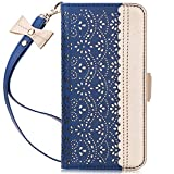 WWW Samsung Galaxy S10e Case,Galaxy S10e Wallet Case, [Luxurious Romantic Carved Flower] Leather Wallet Case [Inside Makeup Mirror] [Kickstand Feature] for Galaxy S10e 5.8' 2019 Navy Blue