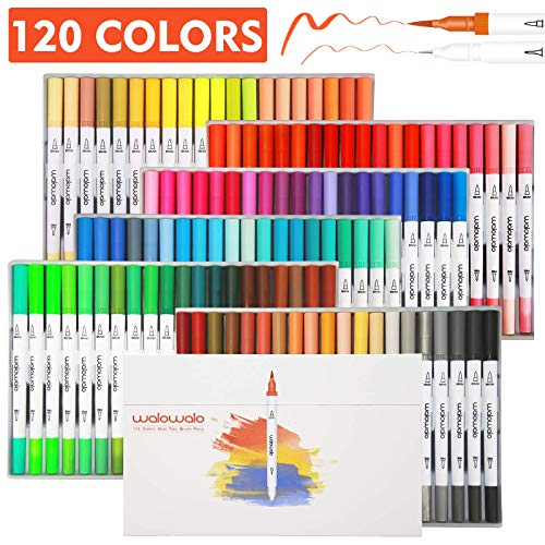 walowalo 120 Colors Dual Tip Brush Pens Art Markers Set Fineliner Brush 2 in 1 Case Holder for Kids Adult Artist Calligraphy Hand Lettering Coloring Books Doodling Notes Writing