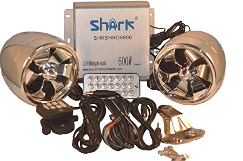 "Shark 600 Watt Motorcycle Boat Snowmobile Audio System, 4 x 3"" Waterproof Stylish Speakers, LCD Screen, Wired & Wireless Remote, Model SHKAMP58006800, Chrome"