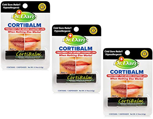 Dr. Dan's Cortibalm -3 Pack -for Dry Cracked Lips - Healing Lip Balm for Severely Chapped Lips-...