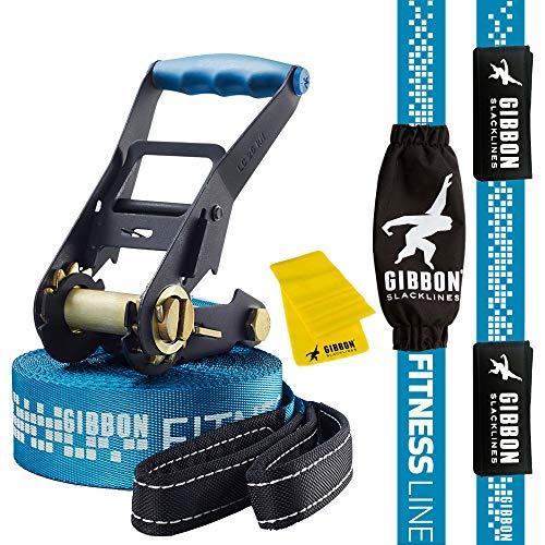 Gibbon Slacklines Fitness Line, Blau, 15 Meter (12,5m Band + 2,5m Ratschenband), Anfänger, Einsteiger und Fitnessbegeisterte, mit Ratschenschutz und -rücksicherung, Breite 2