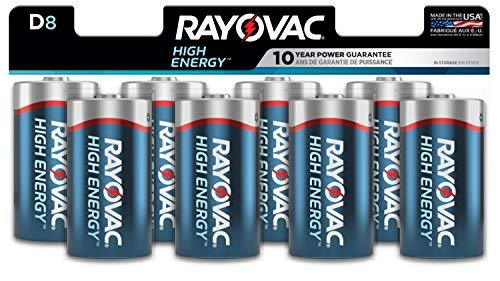 Rayovac D Batteries, Alkaline D Cell Batteries (8 Battery Count)