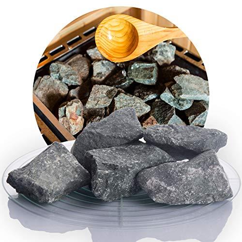 Deutsche Diabas Saunasteine 25 kg 5-8 cm oder 8-12 cm, hochwertige Aufgusssteine für den Saunaofen, vorgewaschen (5-8 cm)