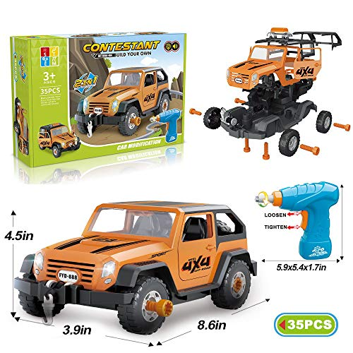 Limei STEM Jeep Building Car Toy Vehicle Set Assemble Toy Car Off Road with Electric Drill for Kids Boys Babies Ages 3 4 5 6 7 8 9 Years Old(35 pcs)