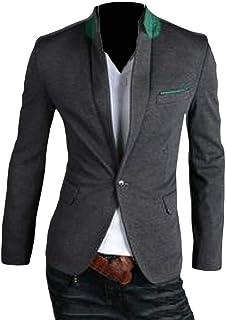 Macondoo Mens Coat Casual Work One Button Slim Fit Blazer Sport Jacket
