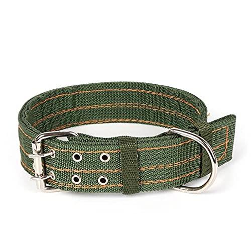 Yetier Collar de Perro, Collar de Perro de Lona Verde Militar con Doble Botonadura, potentes y Ajustables para Perros medianos y Grandes
