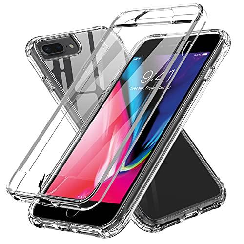 LeYi Funda para iPhone 6 Plus /7 Plus /8 Plus con Protector de Pantalla Integrado, 360 Carcasa Armor Silicona TPU Gel Bumper Hard PC Ultra-Fina Antigolpes Case, Transparente
