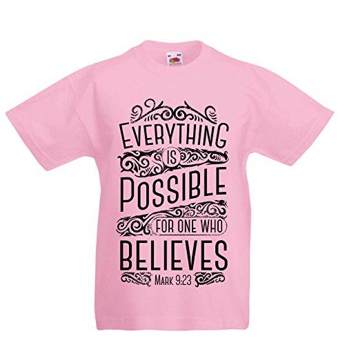 Kinder Jungen/Mädchen T-Shirt Jesus Christus: Alles ist möglich für den, der glaubt - christliche Religion, Glaube, Bibel - Ostern - Auferstehung (3-4 Years Pink Mehrfarben)