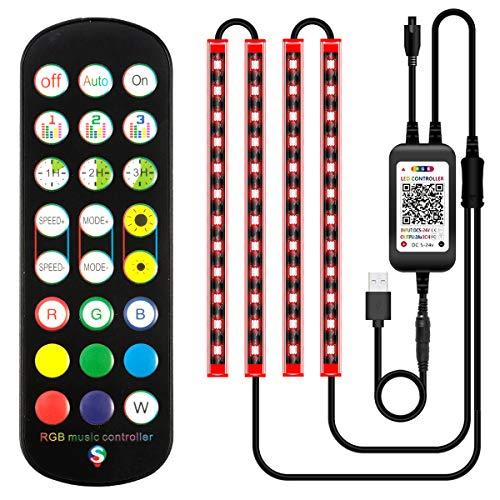 Auto-LED-Lichtstreifen, USB, 4 Stück, 48 LEDs, Auto-Innenbeleuchtung, RGB mehrfarbig, Stimmungslichter, Musikaktivierung unter dem Armaturenbrett, Beleuchtungs-Set mit Fernbedienung, Sound aktiv