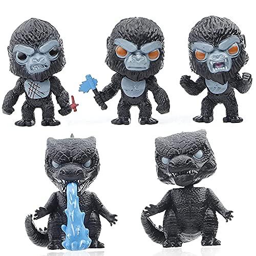 BESTZY Godzilla Giocattoli 5PCS King Kong Figure in Resina in Miniatura Figure da Gioco in Miniatura Figure da Giardino Natalizie Fai-da-Te Decorazioni Carino Collezione Regalo per Bambini