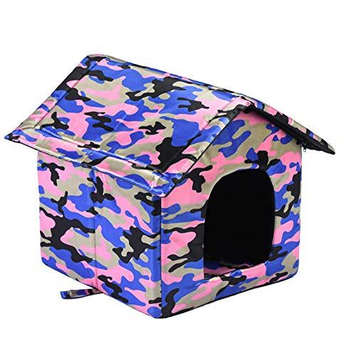 Kongxin Caseta para mascotas al aire libre, impermeable con camuflaje, seguro y cálido, casa para gatos calentita, casa para animales en interiores y exteriores