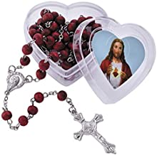 Sacred Heart of Jesus Rose Scented Rosary with Heart Shaped Box Gift Set, 18 1/2 Inch