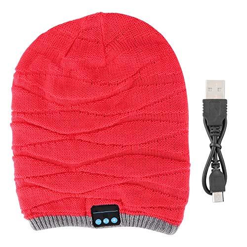 CHICIRIS luetooth Beanie Hat, Auriculares inalámbricos Bluetooth Estéreo Deportes Ondulado Beanie Headset Music Cap Largo(Rosado)