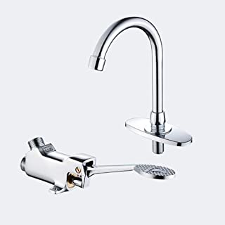 iBalody Fine Copper Bathroom Medical Laboratory Basin Foot Pedal Faucet Foot Pedal Brass Basin Mixer Water Taps Single Cold Hot and Cold Water Mixter Tap (Color : Cold water)