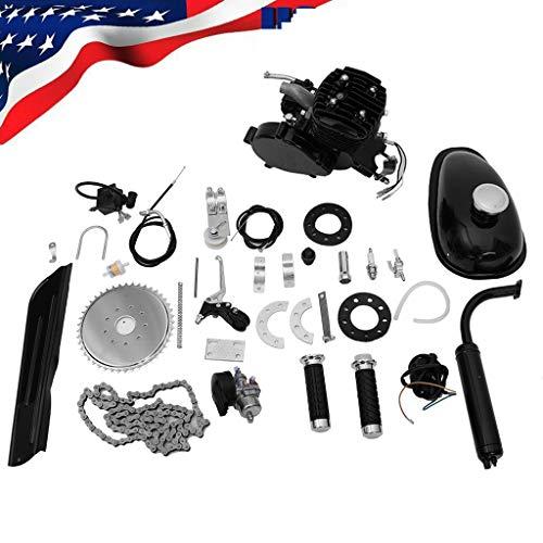 Mcniag Full Set 80cc Bicycle Engine kit,2-Stroke Gas Motorized Bike Full Set 80cc Bike Bicycle Motorized 2 Stroke Petrol Gas Motor Engine Kit Set (Black)