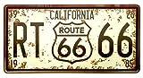 Placa De Matrícula Cartel Vintage para Pared de Chapa de Metal Diseño Creativo Decoraciones de Bar Pub Cafetería (Route 66 Marrón)